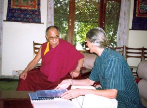 Jaman discussing the Tibetan Sustainable Living Project with His Holiness the Dalai Lama