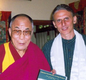 Jaman presenting the Dalai Lama with the Tibetan project report